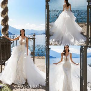 2020 vestidos de boda sobrefalda vestidos de novia de cuello en V profundo Encaje Lentejuelas por encargo de la sirena con el vestido de novia de tren desmontable Beach
