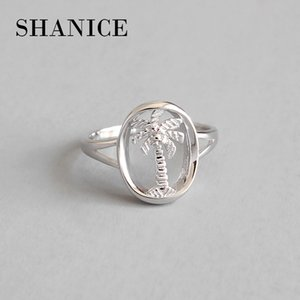 SHANICE 925 Sterling Silver INS Simple Unique Coconut Tree Hollow Open Finger Rings for Women Sterling Silver Jewelry Gift