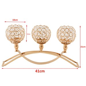 Crystal Candle Holders 3 Holders Iron Candelabra Holder Coffee Table Decorative Centerpieces for Living Room Dinning Decoration