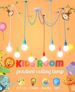 4 6 8 10 12 Heads Modern Colorful Pendant Lights DIY Ceiling Lamp Wires for Kids Room Bedroom Cafe Art Hanging Light Fixture