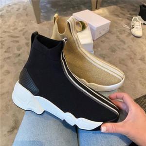 Botas Calcetines Negro de alta Top zapatillas calcetín Mujer Casual Botas de alta calidad de estiramiento-Knit Dos Punto Cero Formadores tacón grueso con la caja