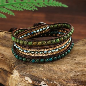 Green Jasper Leather Wrap Bracelet Boho Middle Strands Faceted Crystal Beads Link Chain Charm Bracelets Women Ethnic Jewelry Unique Gift