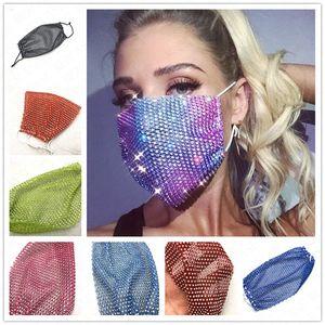 La moda bling bling pesca mascarilla red a prueba de polvo cristalino máscara bucal de protección lavable reutilización cubre Mujeres máscaras del partido D62314
