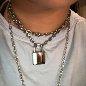 100% Handmade Unisex Навесной замок ключ ожерелье Set 50 60 70см Длинные металлические цепи ожерелье для мужчин женщин мальчиков девочек Friend подарков