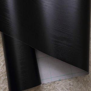 Black Wood Grain Self Adhesive Wallpaper PVC impermeável Kitchen decorativa Gabinete Wardrobe Porta papel contact Móveis