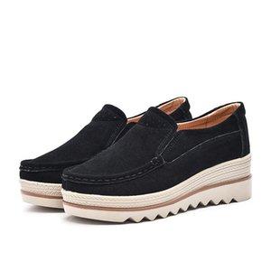 Mocasines de gran tamaño Plataforma alta Zapatos de cuña Cuero real Transpirable Confort Pendiente Zapatillas de suela gruesa Mamá Moda individual Zapatos de ocio