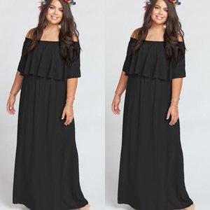 Damas fuera de los hombros largos vestidos de partido formales de noche color puro del vestido maxi 2018 Nuevos vestido de la manera del volante de las mujeres de los vestidos femeninos