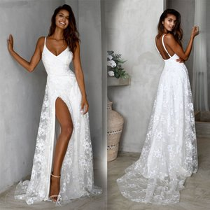Uguest Women Lace White Dress V-neck Sleeveless Spaghetti Strap Backless Floor-length Party Vacation Wear Long Side Slit Dresses T200707