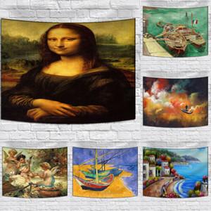 Goblen Boyama Bohemian Renkli Retro Yağ Sanat Goblen Duvar Asma Plaj Havlusu Ev Dekorasyonu Halılar Bohemian Mürekkep