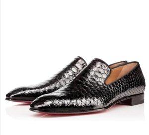 Бренд красных нижних мосты на вечеринке свадебные туфли дизайнер черный патент кожа замшевые одежды обувь мужские скольжения на квартирах Оксфорд Уэллин Spiked Обувь C7
