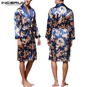 INCERUN мода атласная шелковая пижама мужская халат с длинными рукавами халат счастливый китайский дракон печати платье халат пижамы гостиная