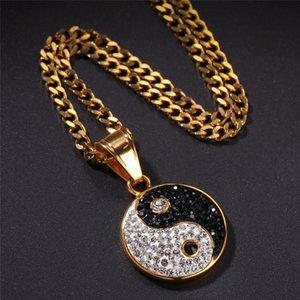 Acciaio inossidabile Tai Chi Pendente della CZ della pietra di stile Yin Yang collana cinese gioielli Hip Hop Con 24 pollici cubano Catena
