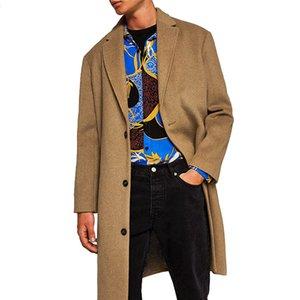 Модные зимние мужские шерстяные смеси пальто прямые тонкие свободные длинные шерстяные пальто Мужские повседневные однобортные пальто и пиджаки