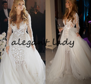 Blake Lively Long Sleeve Mermaid Wedding Dresses with Detachable Train 2019 Berta 3D Floral Lace Tulle Fairy Garden Castle Wedding Gown