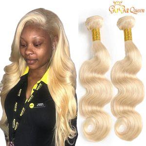 Gaga kraliçe 613 Sarışın Saç Brezilyalı Vücut Dalga 3 Paketler İşlenmemiş Perulu Malezya Hint Bakire Insan Saç Uzantıları Yeni varış
