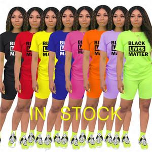 Women Designer Summer Tracksuit Black Lives Matter letter Print 2 piece Clothes Set t shirt + biker shorts casual outfit sports sets D61902
