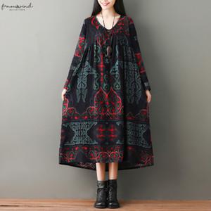 Oversized Summer Dress For Women Pattern Print Long Sleeve Baggy Cotton Linen Dress Robe Femme Vintage Midi Dress