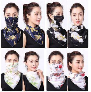 여성 스카프 얼굴 (38 개) 스타일 실크 쉬폰 손수건 야외 방풍 반 얼굴 방진 양산 마스크 스카프 LJJO7663 마스크