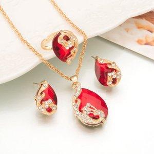 5 colores el collar cristalino del descenso del agua Anillo Pendientes Moda Mujer color oro del pavo real de sistemas de la joyería N713
