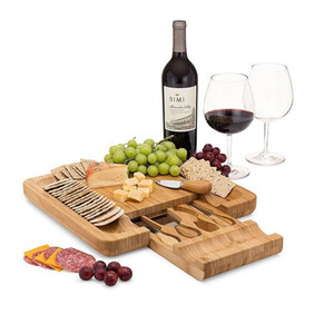 Bamboo Cheese Board Set With Cutlery In Slide-Out Drawer Including 4 Stainless Steel Knife and Serving