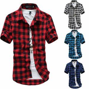 Mens moda verão vestido ocasional camisas xadrez de manga curta Camisas Tops Tee manga curta manta Camisetas masculinas Shirts