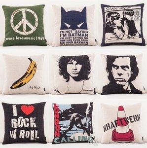 Música del amor de la paz 1969 de la cubierta del amortiguador 10 estilos plátano London Calling música rock grueso de lino de algodón Throw Pillow caso Sofá Decoración