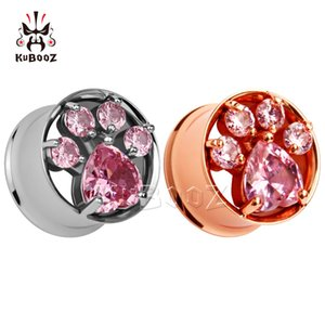 new hot fashion rose gold stainless steel ear plugs crystal ear tunnels double flared ear gauges pair selling 2pcs lot