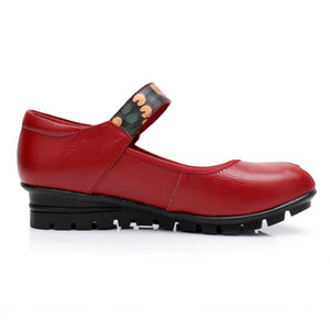 Hot Sale-Handmade Shoes Woman Genuine Leather Flat Shoes Female Casual Comfortable Mom Flats Women Shoes