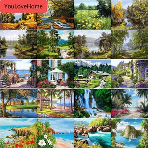 Pintura por Tree Number Cenário Kits tela de desenho pintado à mão Diy Imagem By Numbers Lake Landscape Home Decor Art Modern Recados