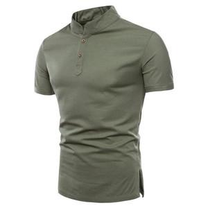 زينة أزرار أزياء بولو Mens Summer Tops Short Sleeve Homme Clothes Designer Solid Color