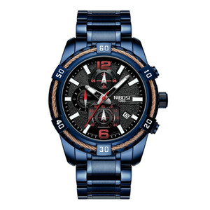 2021 NIBOSI Mens Uhren Top-Marke Luxus Quarzuhr Männer Kalender Militär Big Dringel Wasserdichte Sport Armbanduhr Relogio Masculino