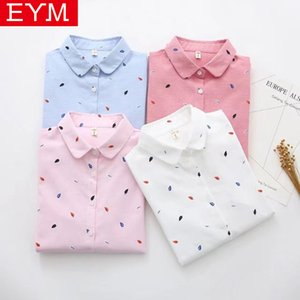 EYM Marca Impresso Camisas Mulheres 2019 Primavera Novas Mulheres Blusa de Manga Longa Blusas de Algodão de Boa Qualidade Branco Encabeça Blusa Feminina