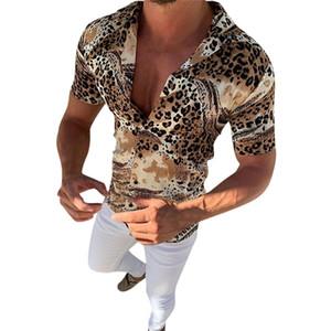 Erkek Gömlek Yaz Moda Leopar Baskılı Çok Renkli Topak Ekleme Erkek Gömlek Casual Çizgili Kısa Kollu Bluz