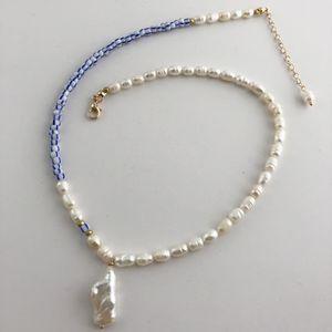Hoker colares Moda pérola de água doce listra Beads Colar barroco real Pearl Pendant Handmade jóia colar Choker por Mulheres Dail ...