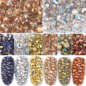 SS3-SS20 смешанный размер блестящий AB Кристалл Nail Art стразы шампанское янтарь золото Flatback Non исправление стекло драгоценный камень маникюр ногти камни