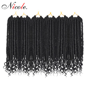 Nicole Crochet Braiding Bulk Hair Synthetic Goddess Faux Locs Curly Ends Braids 24 Strands Pack Omber Locs Black  Brown Color 18 Inch