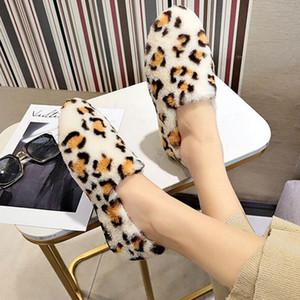Yeni Kürk kadınların düşük yuvarlak kafa düz leopar artı kadife pamuk ayakkabı kış ev giyim boyutu 35-40 ayakkabı