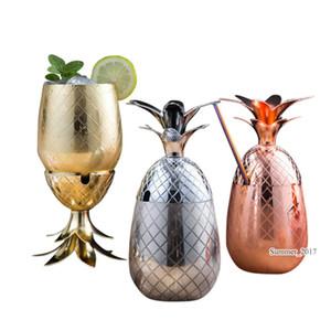 Bar Aracı İçme 2018 Yeni Ananas Tumbler Moskova Mule Kupalar 900ml Bira Bakır Mug Paslanmaz Çelik Kupası Kokteyl Kupası Şarap Cam