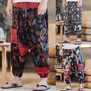 Багги Хлопок Лен шаровары Мужчины Хип-хоп Женщины Печать Плюс Размер Wide Leg Брюки повседневные Vintage Длинные брюки Брюки HOMBRE