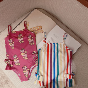 Fashion Girls Baby Swimwear One Piece Set Bathing Suits Top Quality Spring Summer Casual Comfort Swimsuits New Fashion Rainbow Bathing INS