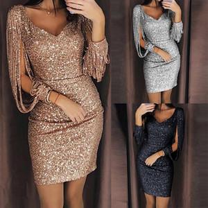 Fashion Sexy Women V Ncek Solid Paillettes Glittering Cuciture Shining Club Guaina Maniche lunghe Vestitino Vestidos Robe Femme S-3XL
