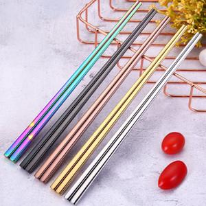 Colorful Lunghezza 23 centimetri riutilizzabili Bacchette cinesi dell'acciaio inossidabile di stile di metallo Chopsticks Restaurant Accessori Cucina