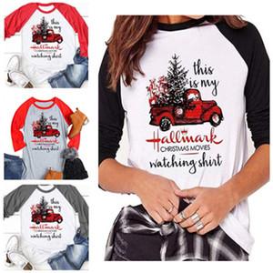 Mulheres de Natal Impresso em torno do pescoço t-shirt do sexo feminino Shirts Xmas Tops carta Xmas T-shirt blusa Casual Moda manga comprida camisas de 4 cores