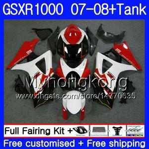 Kit + Tank Für SUZUKI GSX R1000 GSXR-1000 GSXR 1000 2007 2008 301HM.35 GSX-R1000 Rot Weiß Lager 07 08 Karosserie K7 GSXR1000 07 08 Verkleidung 7Gifts