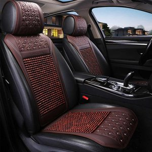 Car Wooden Bead Seat Cushion Summer Cool Leather Car Seat Cover Breathable Handmade Auto Mat Pad Universal Auto Accessories