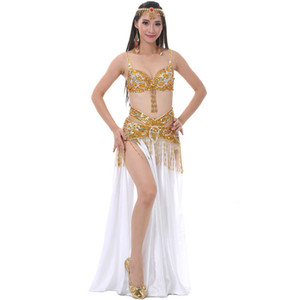 Performance 2018 Belly Dancing Clothing Set di abiti da danza orientale (reggiseno, cintura, gonna divisa) Costume da danza del ventre femminile 3 pezzi