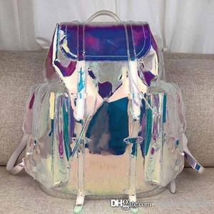 Diseñador de los hombres del arco iris láser flash de la manera de PVC de alta calidad Mochila Transparente Duffle bolsas de color Mochila equipaje del bolso del viaje del bolso de Crossbody