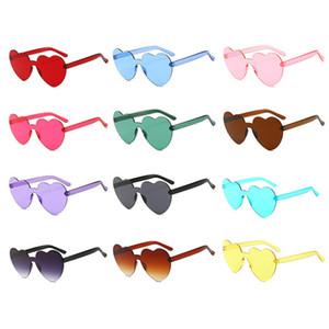 Rimless Heart Shape Sunglasses Women Ocean Candy Lens Shades Female Sun Glasses Girls gafas de sol UV400