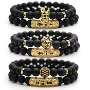Natural Stone Beads Men Bracelet Popular Pave CZ Crown Ball Charm Bracelets Classic 8mm Matte Black Beaded Bangle Hip Hop Jewelry 2Pcs Set