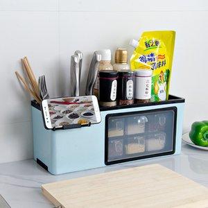 Wall-mounted Without Punching Towel Holder Sauce Bottle Storage Rack Kitchen Storage Plastic Box Tableware Knife Organizer